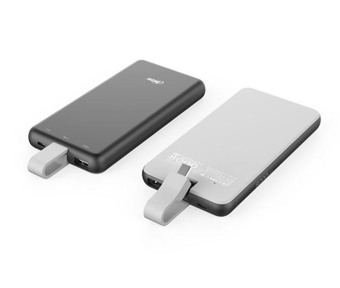 8000mAh Polymer Power Bank with Built-in Type-C Cable
