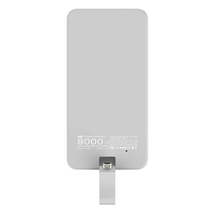 8000mAh Polymer Power Bank witn Built-in Micro USB Cable